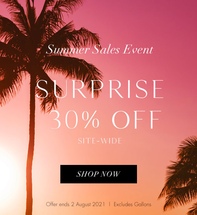 30% off sale complete with beautiful sunset and palm trees